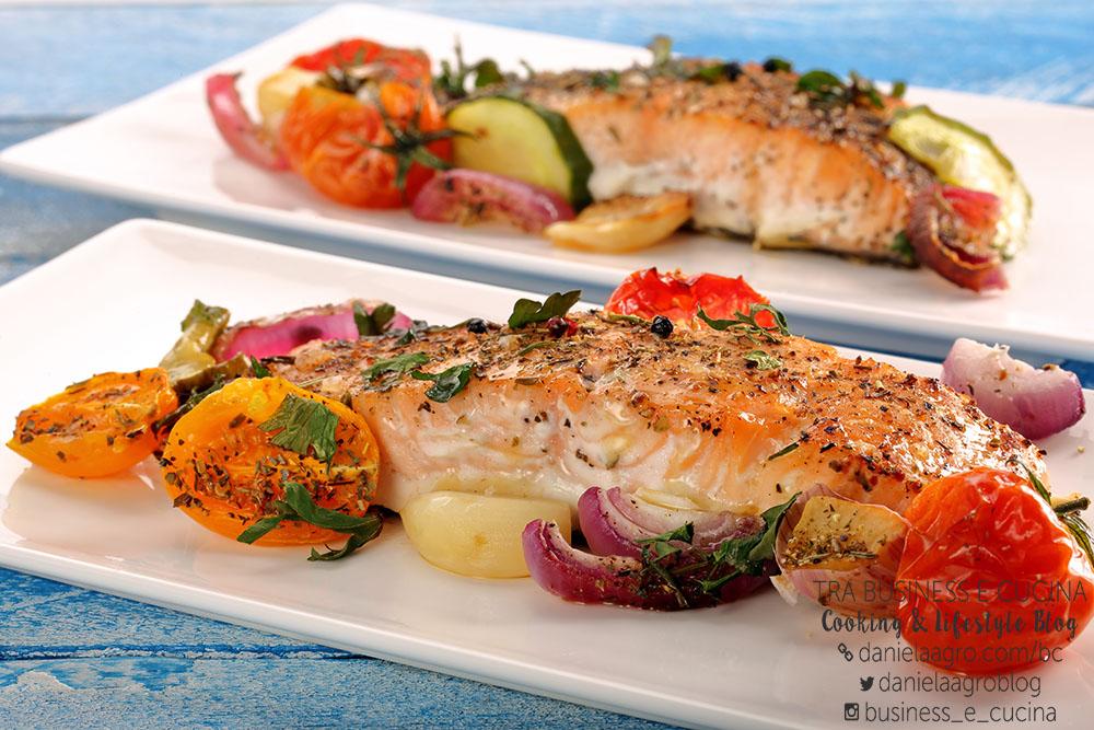 Salmone gratinato e pomodorini Pachino